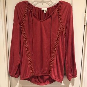 Anthropologie || Meadow Rue Split Neck Blouse